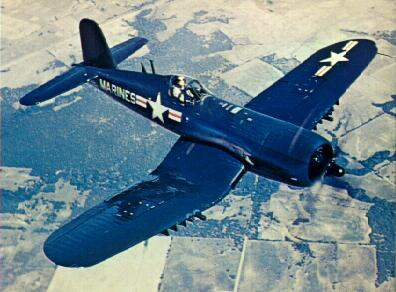 Beautiful Corsair in flight in Marine colors